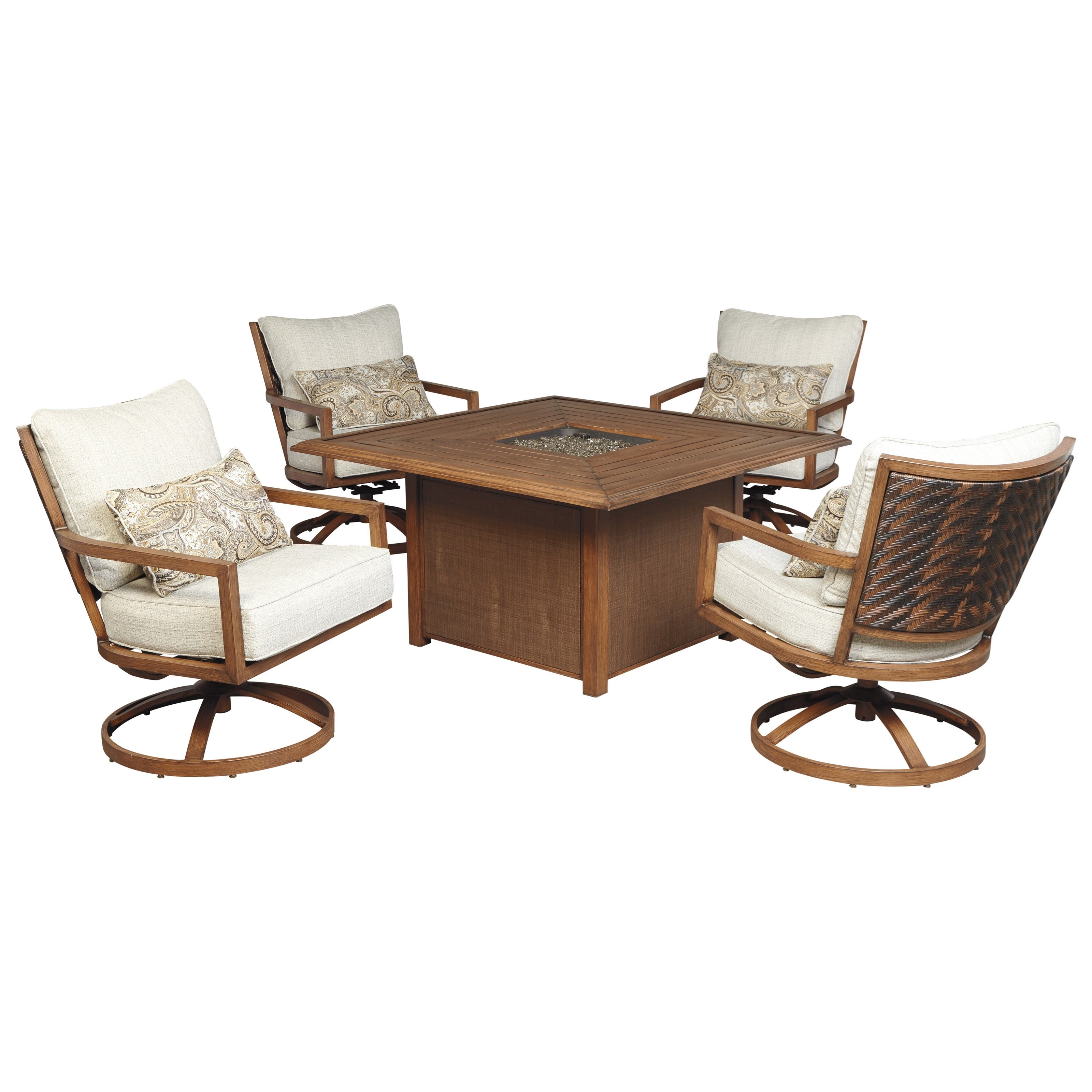 Signature Design by Ashley Zoranne 5-Piece Square Fire Pit Table Set - Item Number: P764-772+2x821