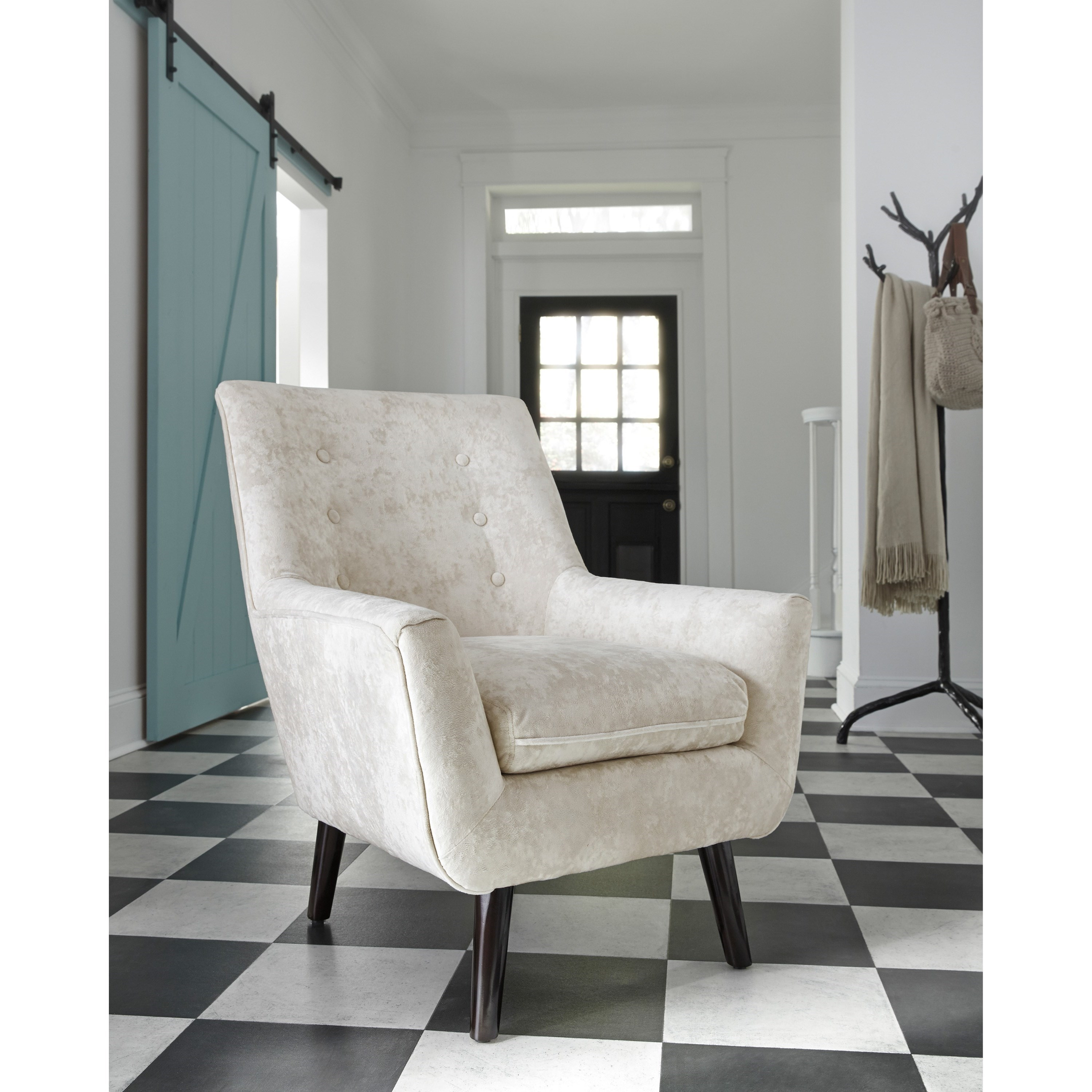 Zossen Mid Century Modern Accent Chair In Ivory Crushed
