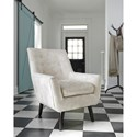 Signature Design by Ashley Zossen Mid-Century Modern Accent Chair in Ivory Crushed Velvet