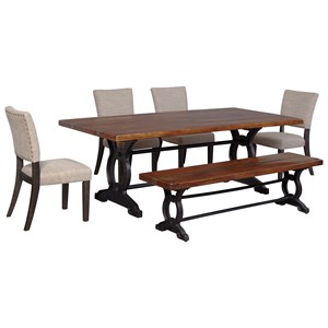 Signature Design by Ashley Zurani 6-Piece Table Set with Bench