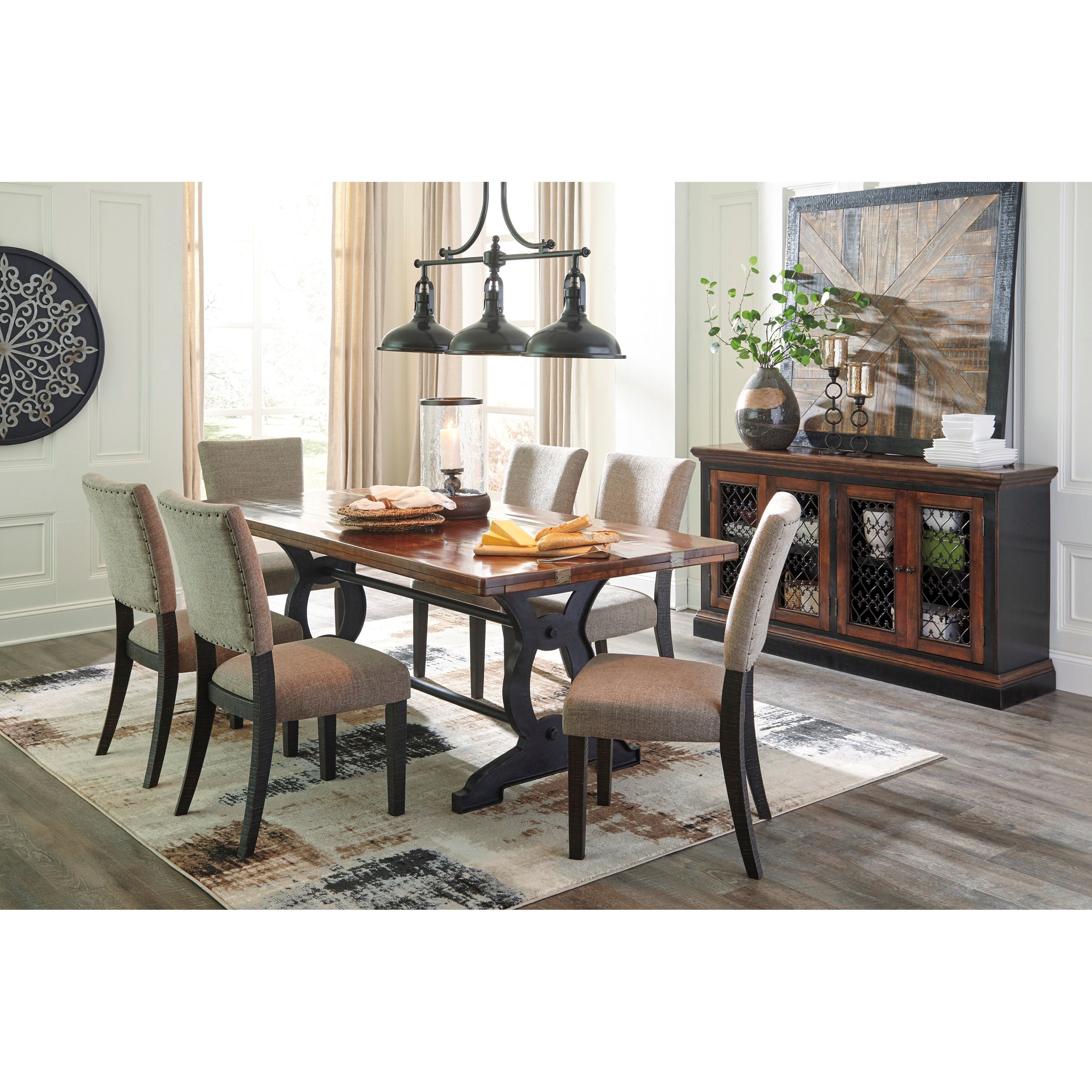 Signature Design By Ashley Zurani 7 Piece Solid Slab Acacia Rectangular Table Set Becker