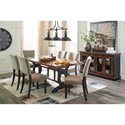 Signature Design by Ashley Zurani Solid Wood Top Rectangular Dining Room Table with Metal Base