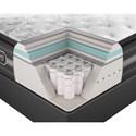 Beautyrest BR Black Katarina Cal King Plush Pillow Top Mattress and SmartMotion™ 1.0 Adjustable Base - Cut-A-Way Showing Comfort Layers