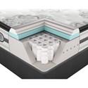 Beautyrest Platinum Gabriella Cal King Plush Pillow Top Mattress and SmartMotion™ 1.0 Adjustable Base - Cut-A-Way Showing Comfort Layers