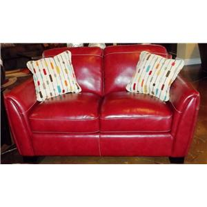 Simon Li Midtown-Red Stationary Leather Loveseat
