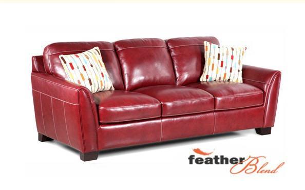 Simon Li Midtown-Red Stationary Leather Sofa - Item Number: J049-30