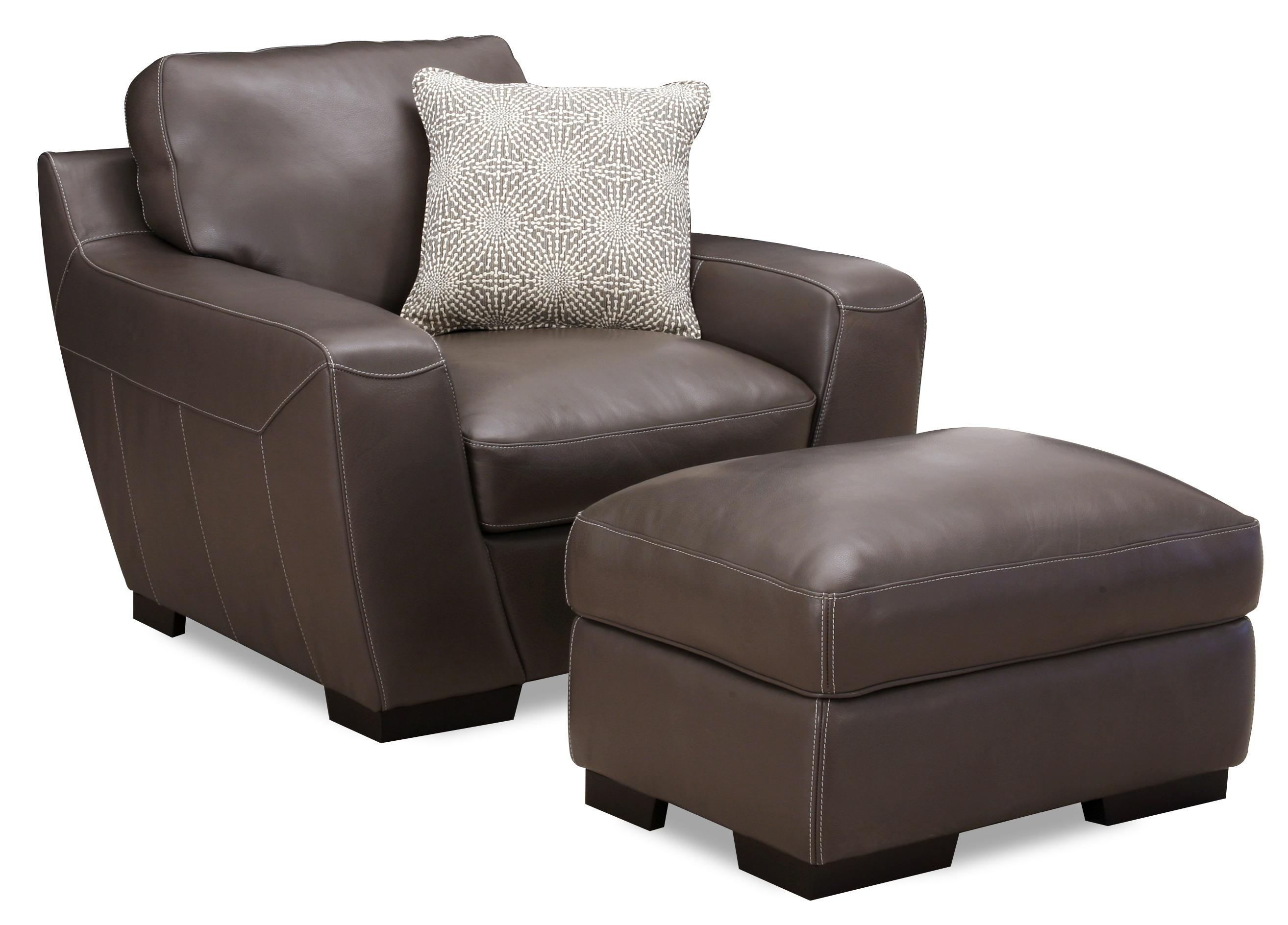 Simon Li Alpha Leather Match Chair With Accent Pillow