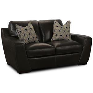 Stationary Leather Match Loveseat