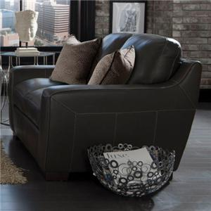 Simon Li Alpha Stationary Leather Match Loveseat
