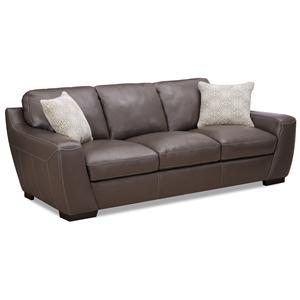 Stationary Leather Match Sofa