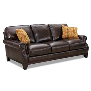 leather rolled arm sofa with fabric accent pillows - Simon Li Furniture
