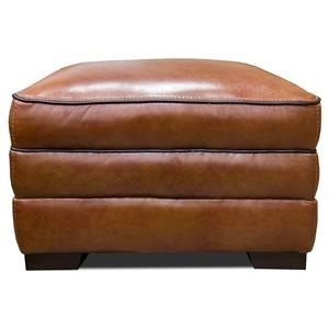 Simon Li Stampede Chestnut Leather Ottoman