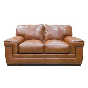 Simon Li Stampede Chestnut Leather Loveseat