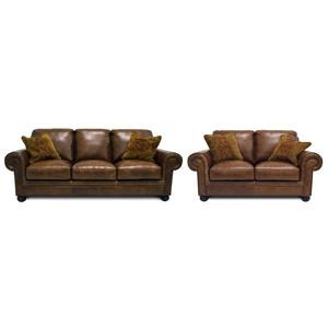 Simon Li Saint Charles Bourbon Leather Sofa & Loveseat