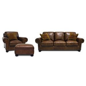 Simon Li Saint Charles Bourbon Leather Sofa, Chair & Ottoman