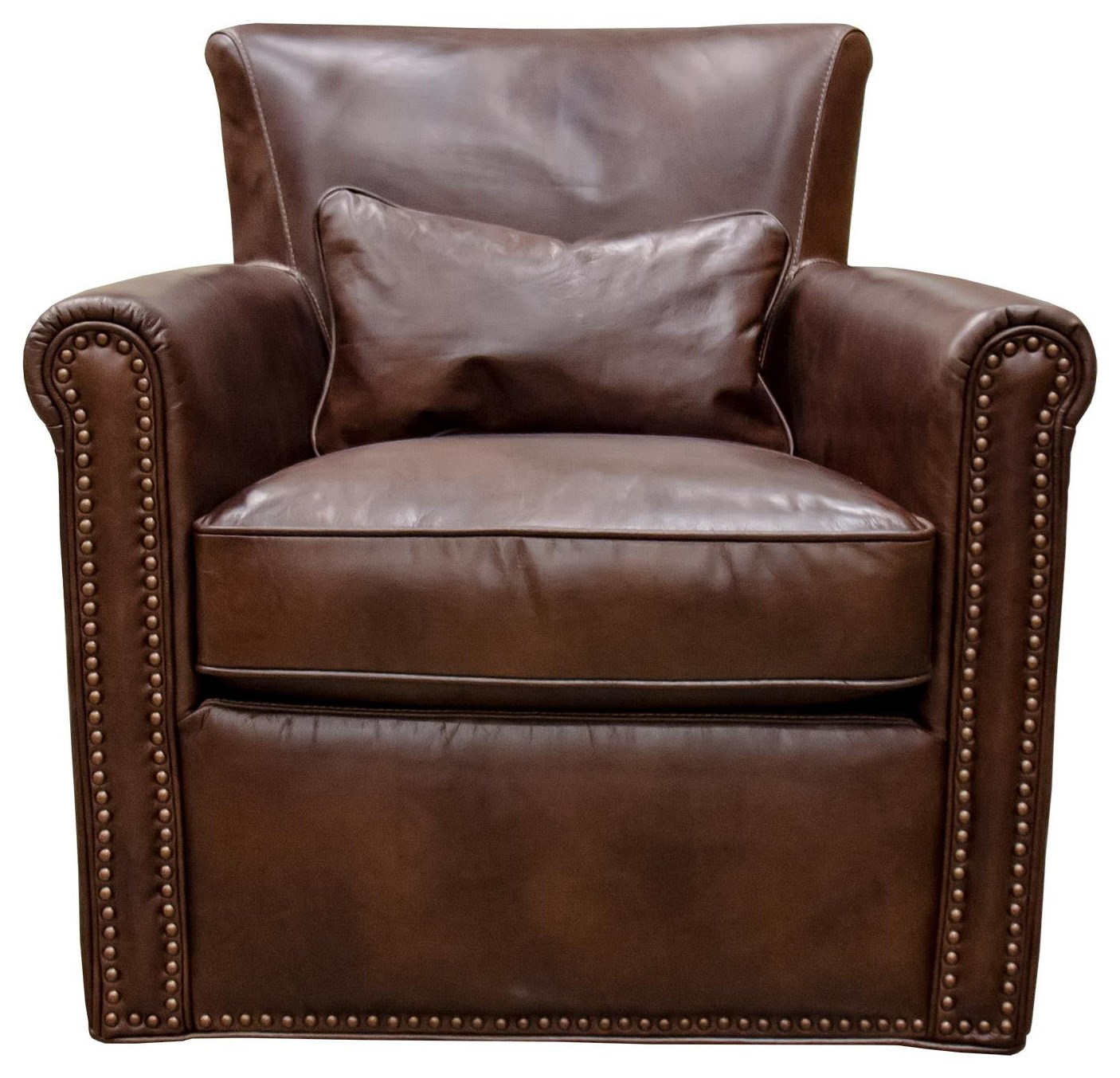 Tobacco Leather Swivel Chair