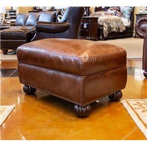 Tobacco Leather Ottoman