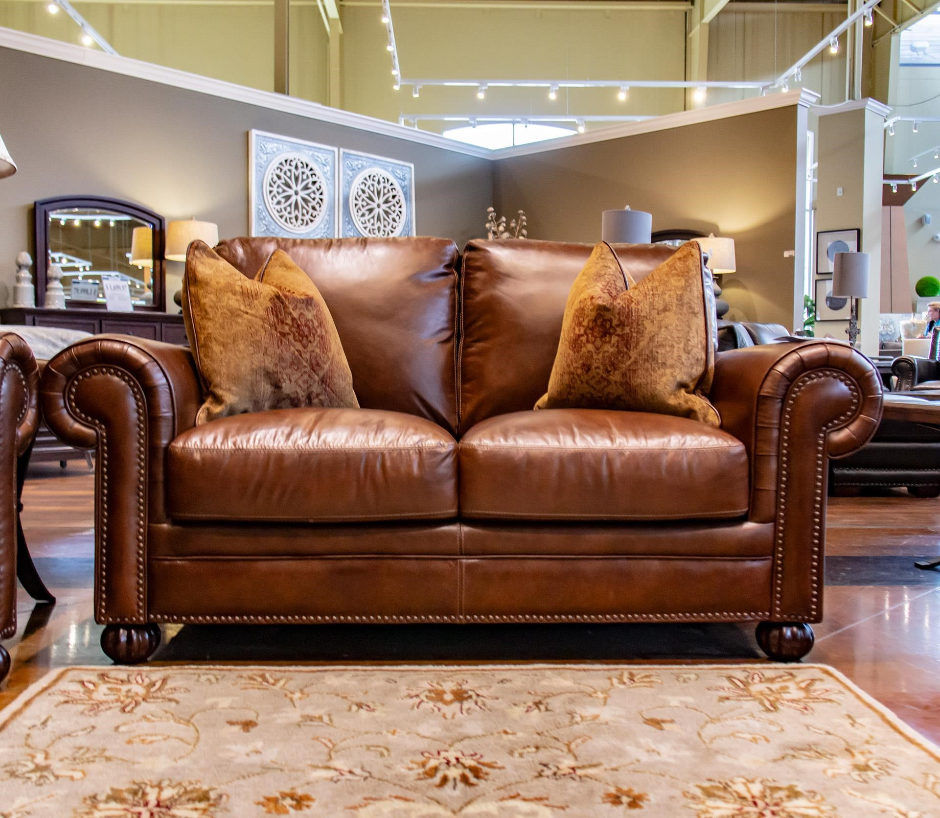 Tobacco Leather Loveseat with Noura-Fig Thro