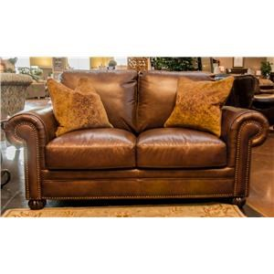 Simon Li Saint James Tobacco Leather Loveseat with Noura-Fig Thro