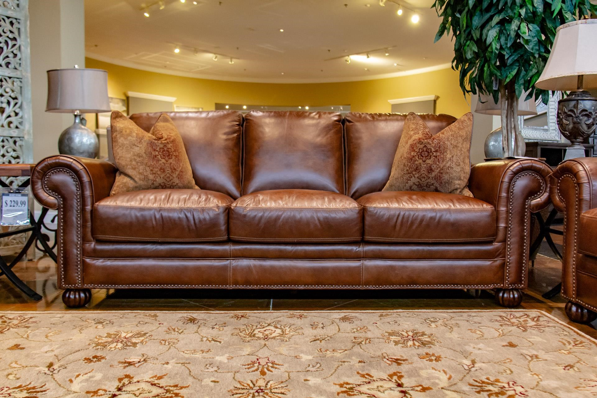 Tobacco Leather Sofa with Noura-Fig Throw Pi