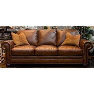 Simon Li Saint James Tobacco Leather Sofa with Noura-Fig Throw Pi
