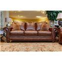 Simon Li St. James Tobacco Leather Sofa with Noura-Fig Throw Pi - Item Number: J398-30 SJOE 651D 63LO