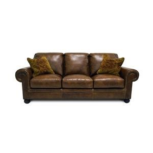 Simon Li Saint Charles Bourbon Leather Sofa with Noura-Fig Throw Pi