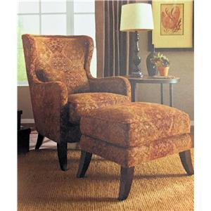 Simon Li J406 Traditional Wing Chair and Ottoman
