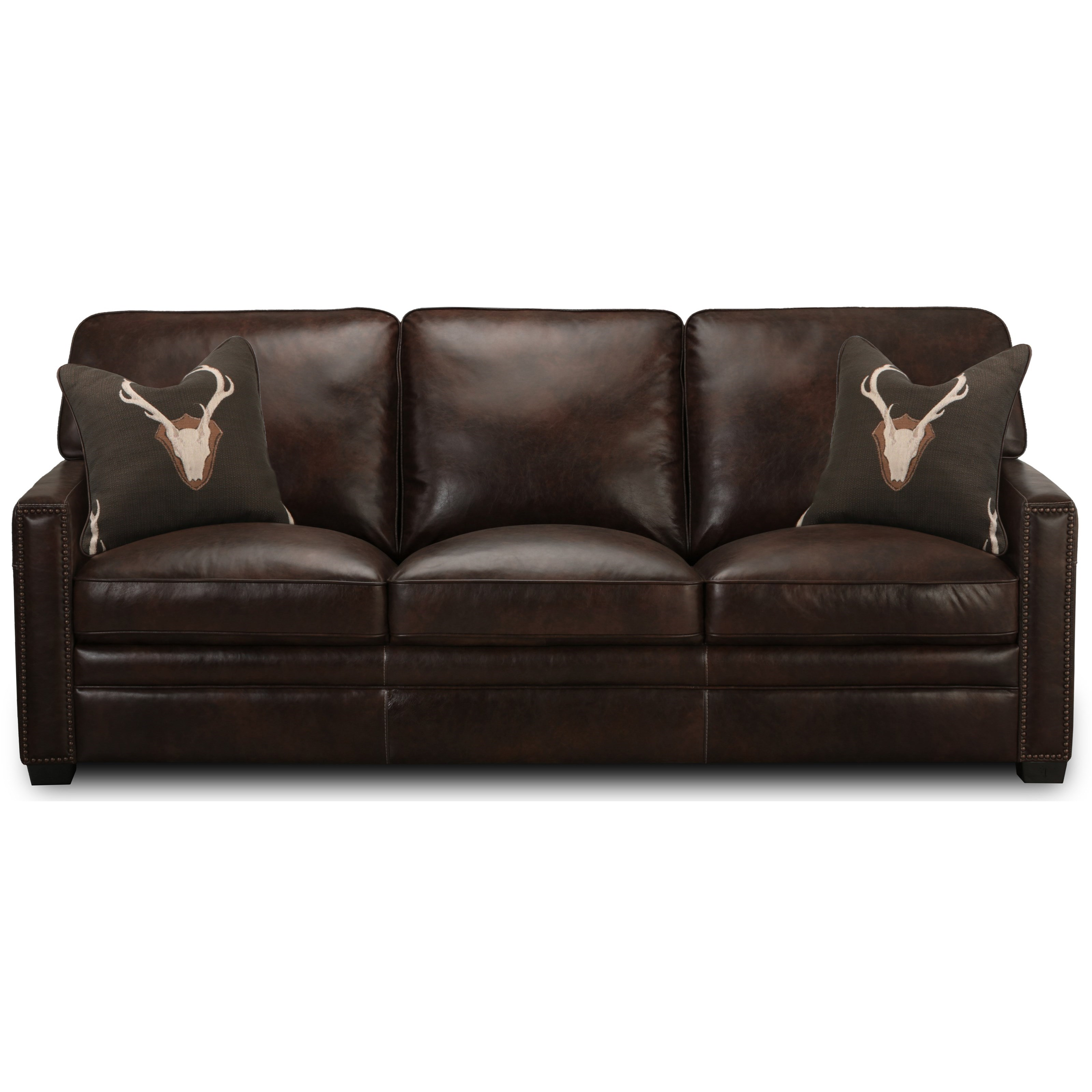 Simon Li J452 Leather Sofa With Nailheads Howell