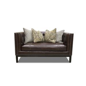 Simon Li Manhattan Leather Loveseat in St. james Cordovan