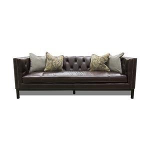 Simon Li Manhattan Leather Sofa in St. James Cordovan