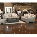 Simon Li Bowie Cement Leather Sofa & Loveseat - Item Number: GRP-J493-SL