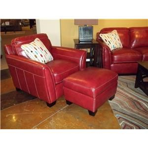Simon Li Midtown-Red Stampede Salsa Leather Chair & Ottoman