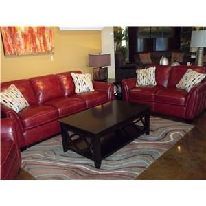 Simon Li Midtown-Red Stampede Salsa Leather Sofa & Loveseat