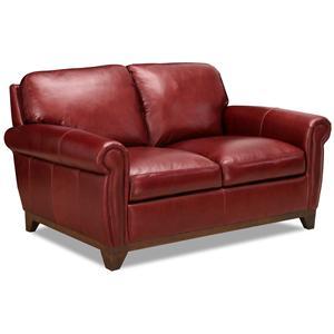 casual rolled arm love seat with exposed hardwood feet - Simon Li Furniture