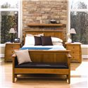 Simply Amish Aspen Bedside Chest with Pullout Surface - Shown with a second Bedside Chest, Aspen Bed, and Santa Fe Bench