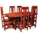 Simply Amish Aspen Trestle Table w/ Ebony Inlays and Extension Leaves - Shown with Arm and Side Tables