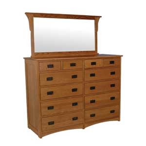 Simply Amish Prairie Mission 12-Drawer Bureau and Bureau Mirror