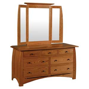 Simply Amish Aspen 7 Drawer Dresser and  Mirror