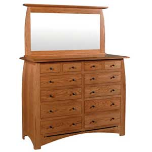 Simply Amish Aspen 12-Drawer Bureau Bureau and Mirror