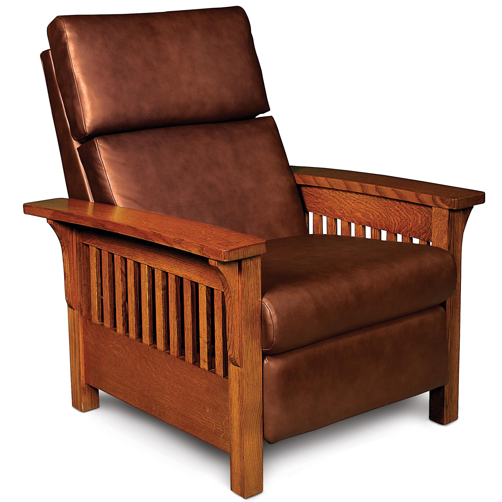 Simply Amish Grand Rapids High Leg Recliner with Wood Arms and