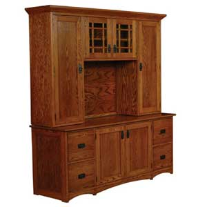 Simply Amish Prairie Mission File Drawer Credenza and Hutch