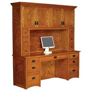 Simply Amish Prairie Mission Computer Credenza and Hutch