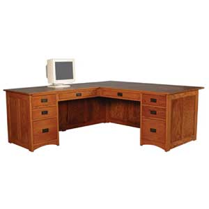 Simply Amish Prairie Mission Executive L-Shape Desk