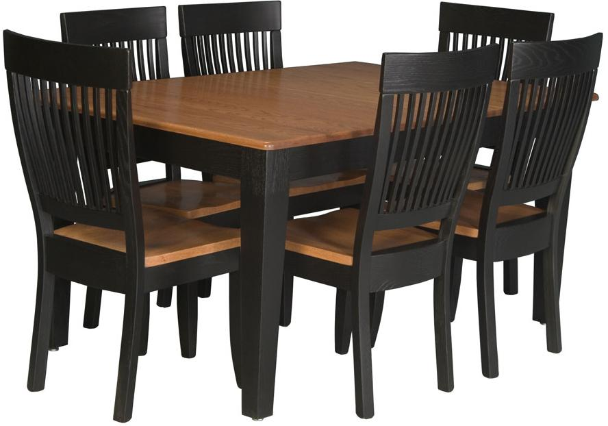 Simply Amish Homestead Amish 7 Piece Dining Set - Item Number: SAL40602-ST02T+6xKSHSS-W-O2T