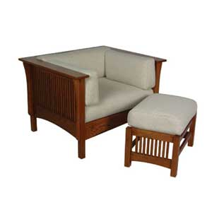 Simply Amish Prairie Mission Chair with Spindles and Ottoman