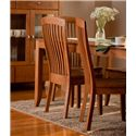 Simply Amish Justine Side Chair w/ Sculpted Seat - Shown with Arm Chair, Table and Cabinet
