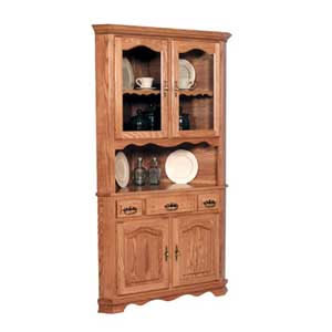 Simply Amish Classic 2 Door Open Corner China Cabinet
