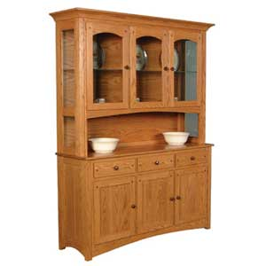 Simply Amish Royal Mission Open Hutch with 3 Arch Doors