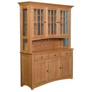 Simply Amish Royal Mission Open Hutch with 3 Mullion Doors
